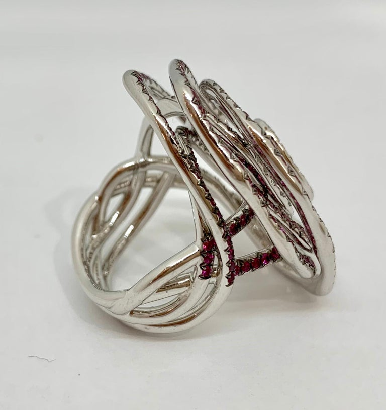 Margot McKinney 18K Gold Swirl Ring Set with White Diamonds and Pink Sapphires For Sale 3