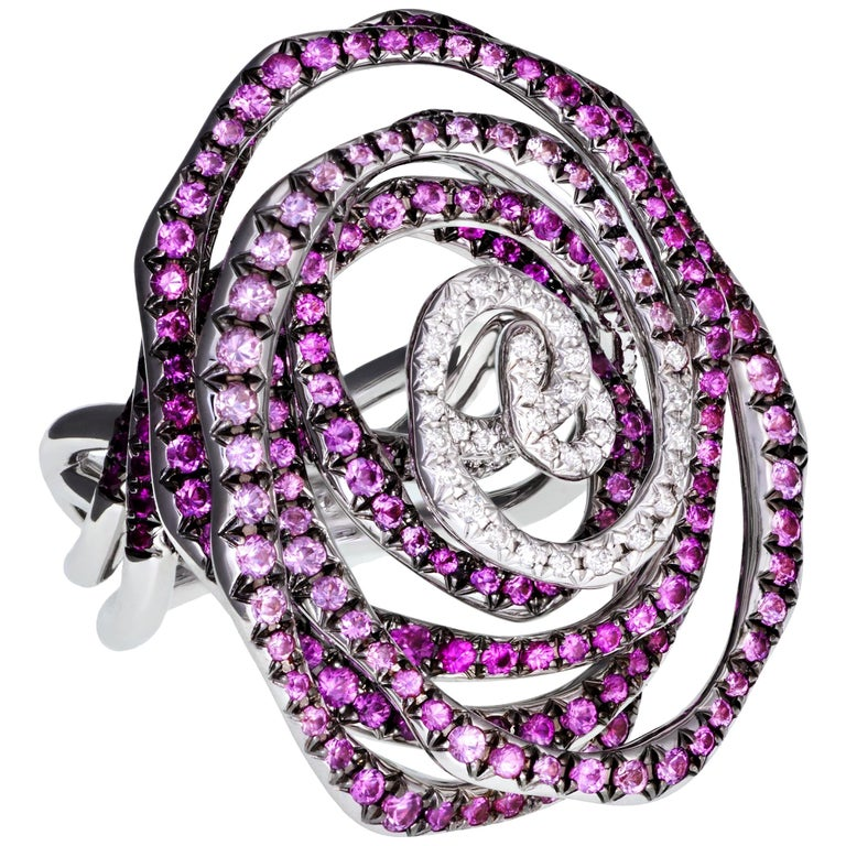 Margot McKinney 18K Gold Swirl Ring Set with White Diamonds and Pink Sapphires For Sale