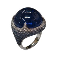 Margot McKinney 18K White Gold Tanzanite Ring with Diamonds and Blue Sapphires