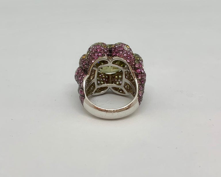 Margot McKinney 18K Gold Zircon Ring with Diamonds, Peridots, Colored Sapphires For Sale 7