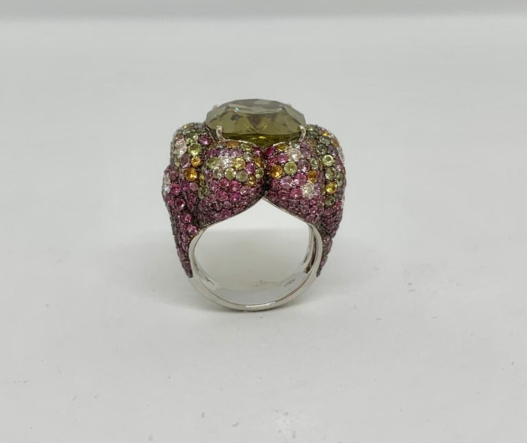 Margot McKinney 18K Gold Zircon Ring with Diamonds, Peridots, Colored Sapphires For Sale 8