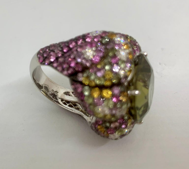 Margot McKinney 18K Gold Zircon Ring with Diamonds, Peridots, Colored Sapphires For Sale 10