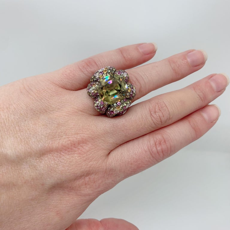 Margot McKinney 18K Gold Zircon Ring with Diamonds, Peridots, Colored Sapphires In New Condition For Sale In Brisbane AU , Queensland
