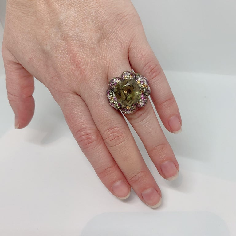 Women's Margot McKinney 18K Gold Zircon Ring with Diamonds, Peridots, Colored Sapphires For Sale