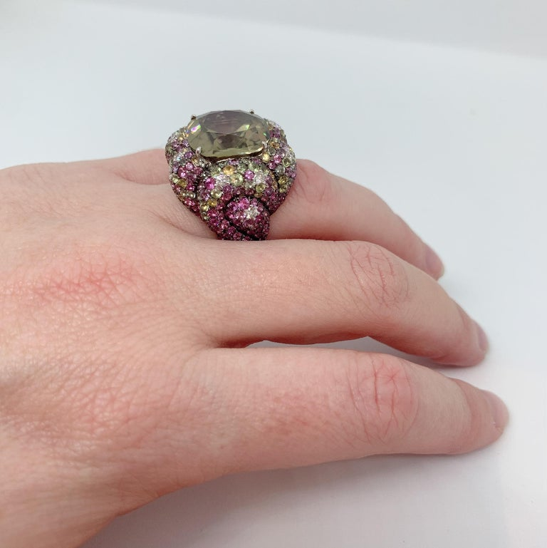 Margot McKinney 18K Gold Zircon Ring with Diamonds, Peridots, Colored Sapphires For Sale 1