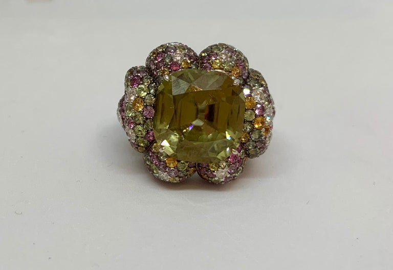 Margot McKinney 18K Gold Zircon Ring with Diamonds, Peridots, Colored Sapphires For Sale 2