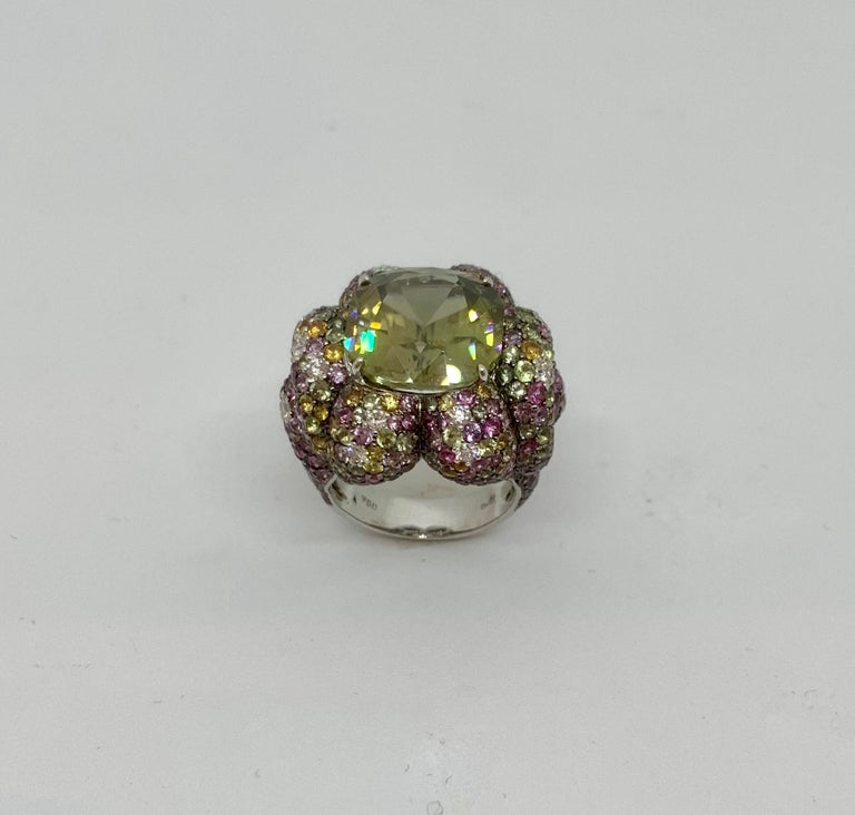 Margot McKinney 18K Gold Zircon Ring with Diamonds, Peridots, Colored Sapphires For Sale 3