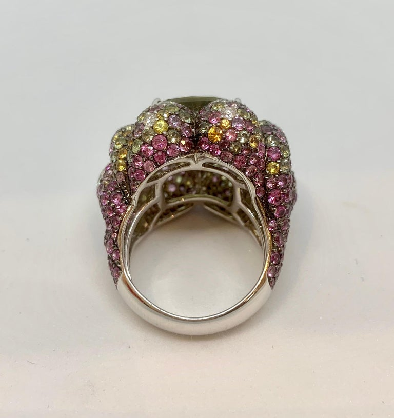Margot McKinney 18K Gold Zircon Ring with Diamonds, Peridots, Colored Sapphires For Sale 4