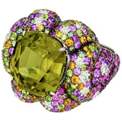 Margot McKinney 18K Gold Zircon Ring with Diamonds, Peridots, Colored Sapphires