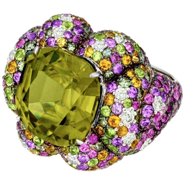 Margot McKinney 18K Gold Zircon Ring with Diamonds, Peridots, Colored Sapphires For Sale