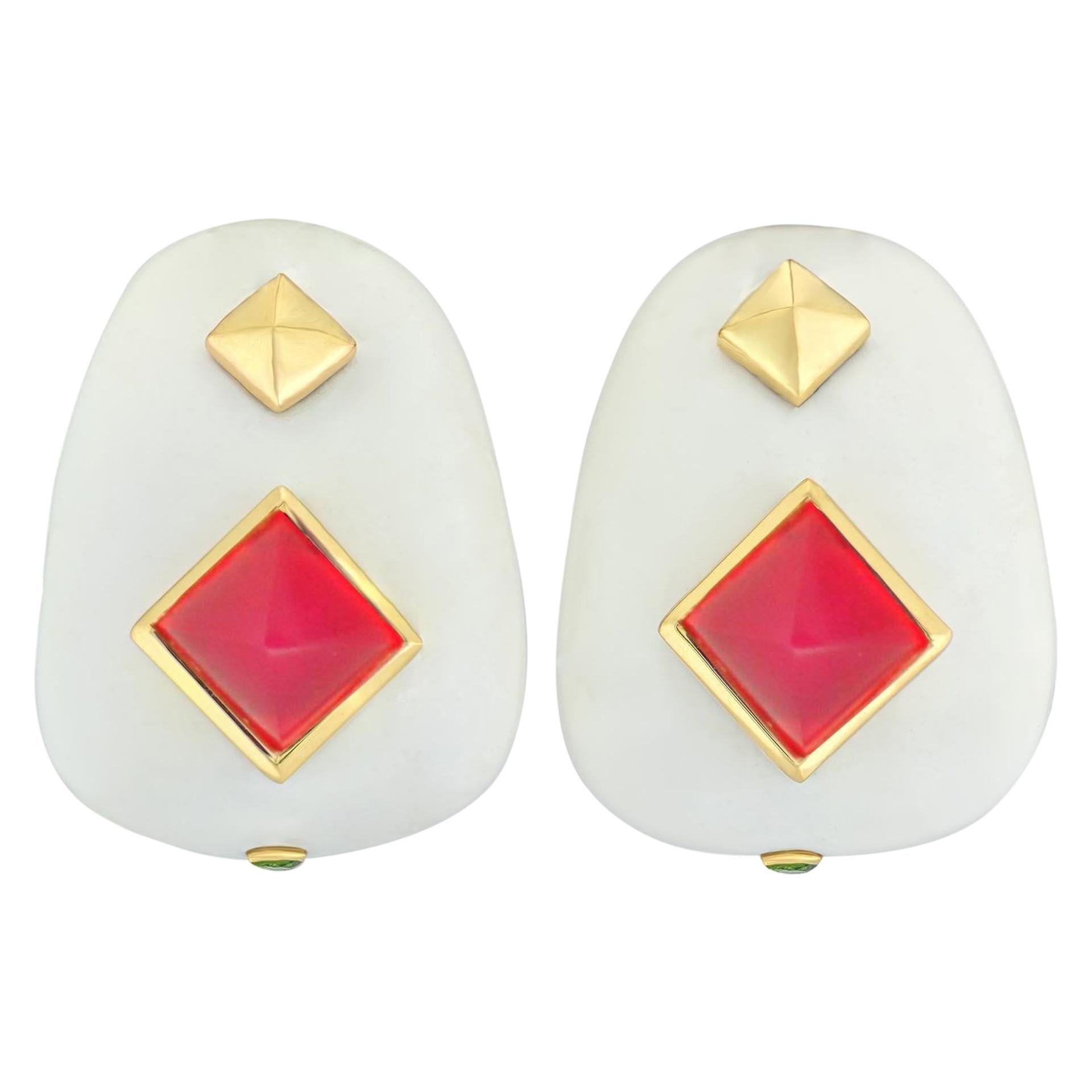 Margot McKinney 18k White Agate Earrings with Red Chalcedony, Tsavorite Garnet