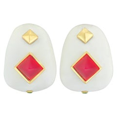 Margot McKinney 18k White Agate Earrings with Red Chalcedony, Tsavorite Garnet