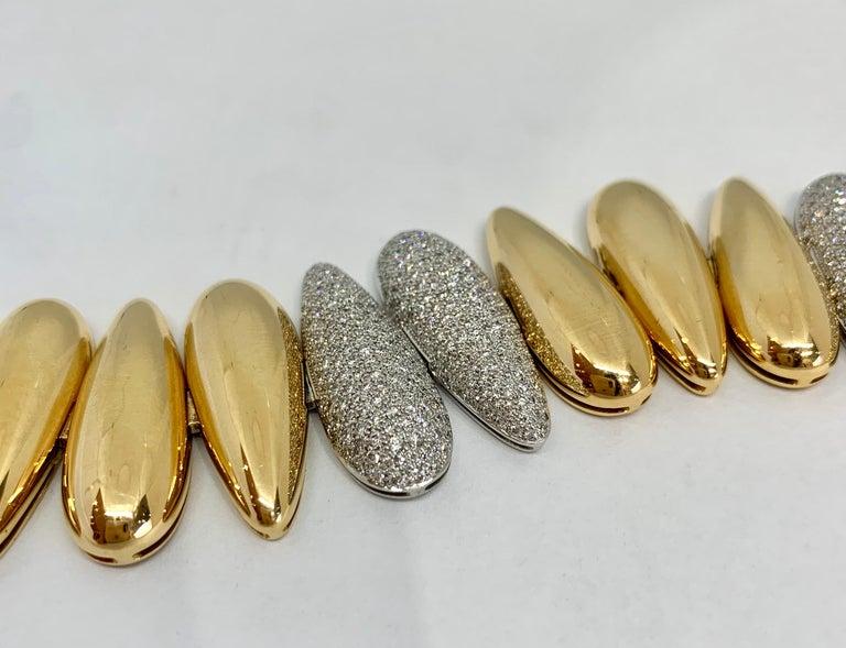Margot McKinney 18k White/Rose Gold Bracelet, Tear Drop Gold and Diamond Links For Sale 4