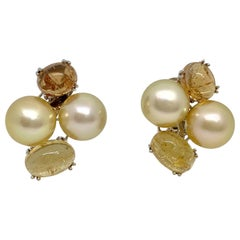 Margot McKinney 18K Gold Earrings Golden Pearls, Yellow Topaz, Yellow Sapphire