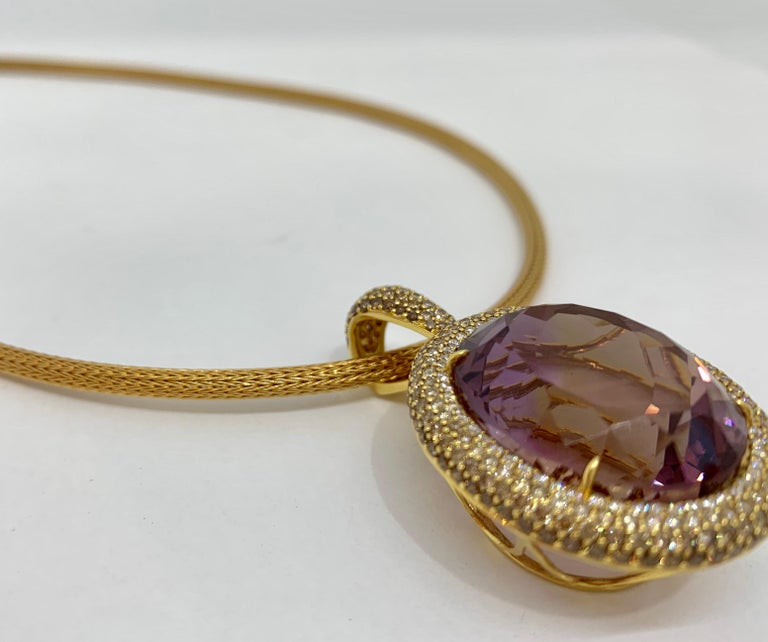 Margot McKinney 18K Gold Necklace with 58.92ct Ametrine and Diamond Pendant In New Condition For Sale In Brisbane AU , Queensland