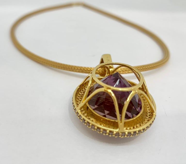 Women's Margot McKinney 18K Gold Necklace with 58.92ct Ametrine and Diamond Pendant For Sale