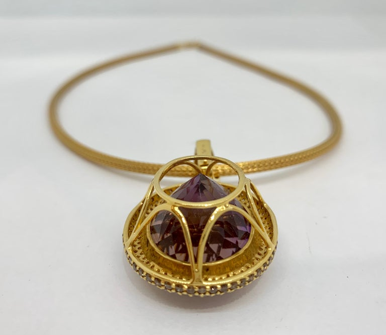 Margot McKinney 18K Gold Necklace with 58.92ct Ametrine and Diamond Pendant For Sale 1