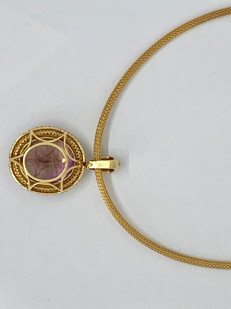 Margot McKinney 18K Gold Necklace with 58.92ct Ametrine and Diamond Pendant For Sale 2