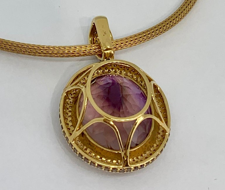 Margot McKinney 18K Gold Necklace with 58.92ct Ametrine and Diamond Pendant For Sale 3