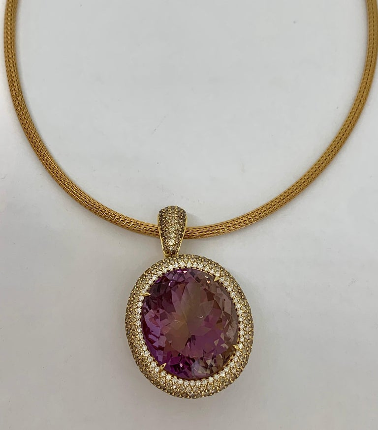 Margot McKinney 18K Gold Necklace with 58.92ct Ametrine and Diamond Pendant For Sale 4