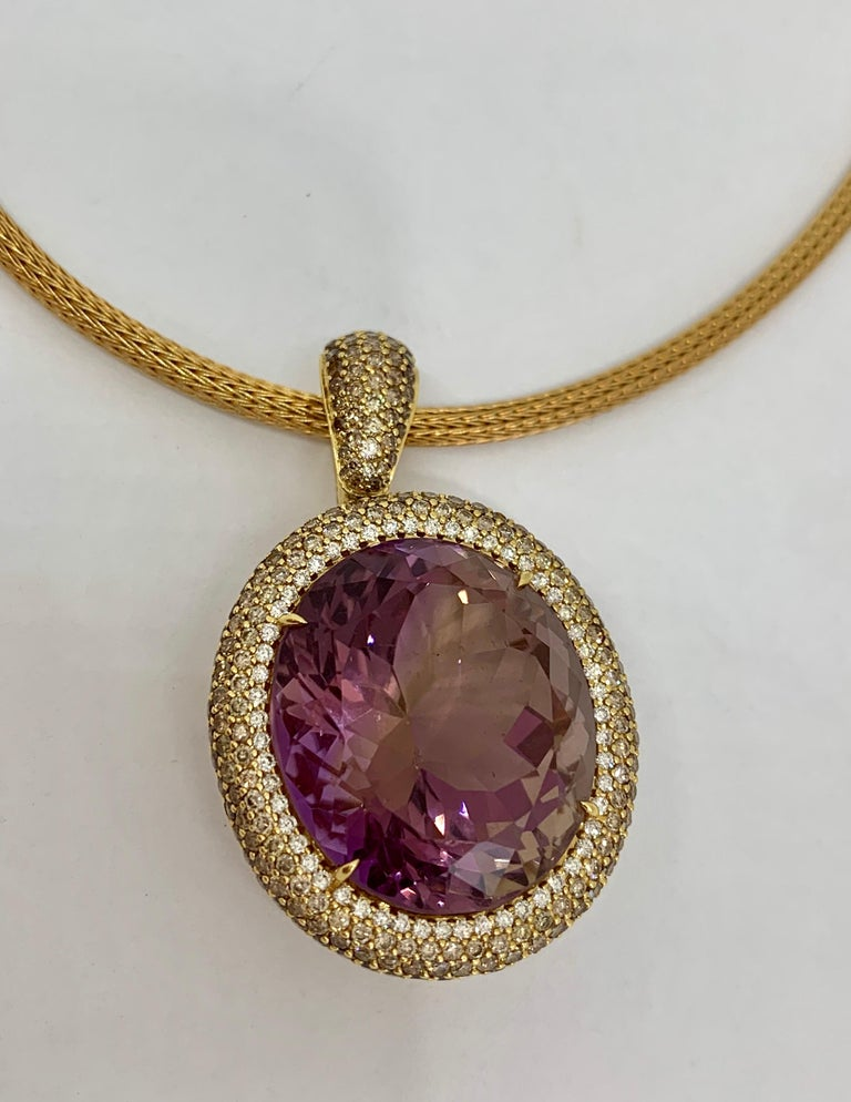 Margot McKinney 18K Gold Necklace with 58.92ct Ametrine and Diamond Pendant For Sale 5