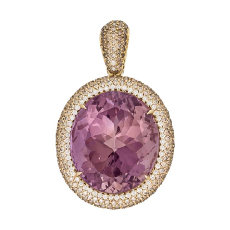 Margot McKinney 18K Gold Necklace with 58.92ct Ametrine and Diamond Pendant For Sale