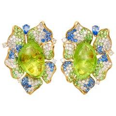 Margot McKinney 18K Gold Paraiba Earrings with Diamonds, Sapphires, Tsavorites