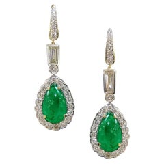 Margot McKinney 18K Gold Earrings, Cabochon Emerald Surrounded by 40 Diamonds