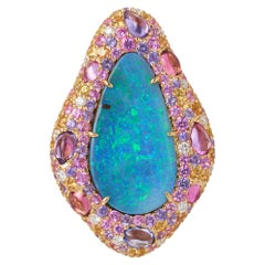 Margot McKinney 18kt Yellow Gold Ring with Opal, Yellow Sapphire, Pink Sapphire