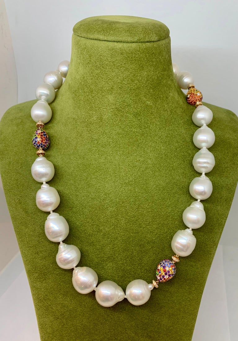 Margot McKinney Baroque White South Sea Pearl Necklet, 3 Multi-Color Gem Pebbles In New Condition For Sale In Brisbane AU , Queensland