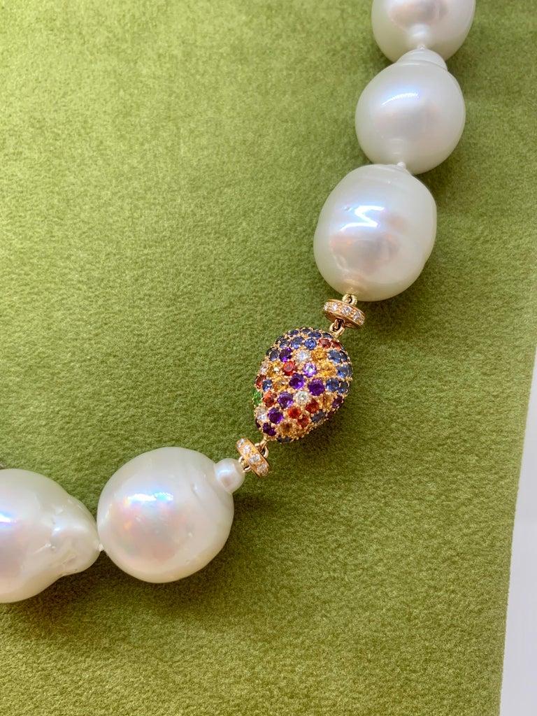 Women's Margot McKinney Baroque White South Sea Pearl Necklet, 3 Multi-Color Gem Pebbles For Sale