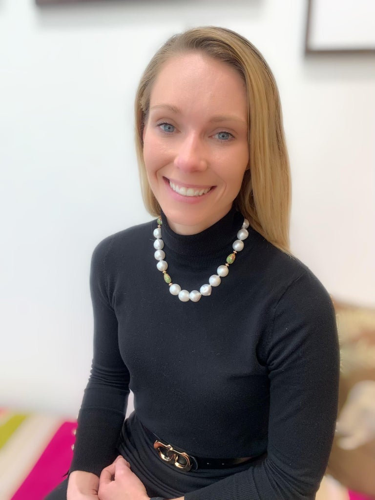 Margot McKinney Baroque White South Sea Pearl Necklet, 3 Multi-Color Gem Pebbles For Sale 3