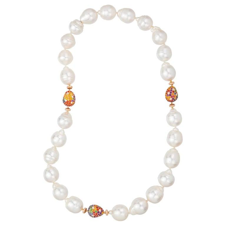 Margot McKinney Baroque White South Sea Pearl Necklet, 3 Multi-Color Gem Pebbles For Sale