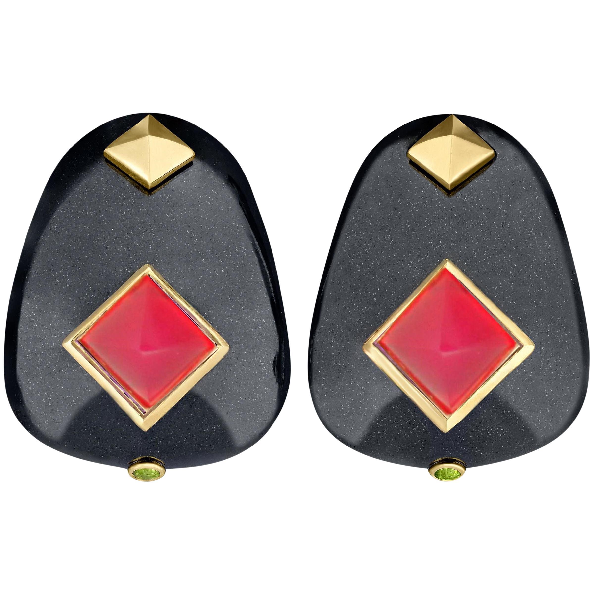 Margot McKinney Black Jade Pyramid Earrings, Red Chalcedony, Tsavorite Garnets