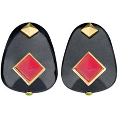 Margot McKinney Black Jade Pyramid Earrings, Red Chalcedony, Tsavorite Garnets