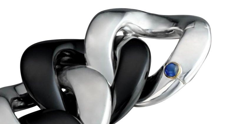 Women's Margot McKinney Black Jade & Silver Link Bracelet, Clasp with 1 Sapphire 0.50Ct For Sale