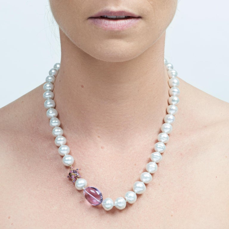 Margot McKinney South Sea Pearl, Star and Amethyst Pebble Necklet, Diamond Clasp 2