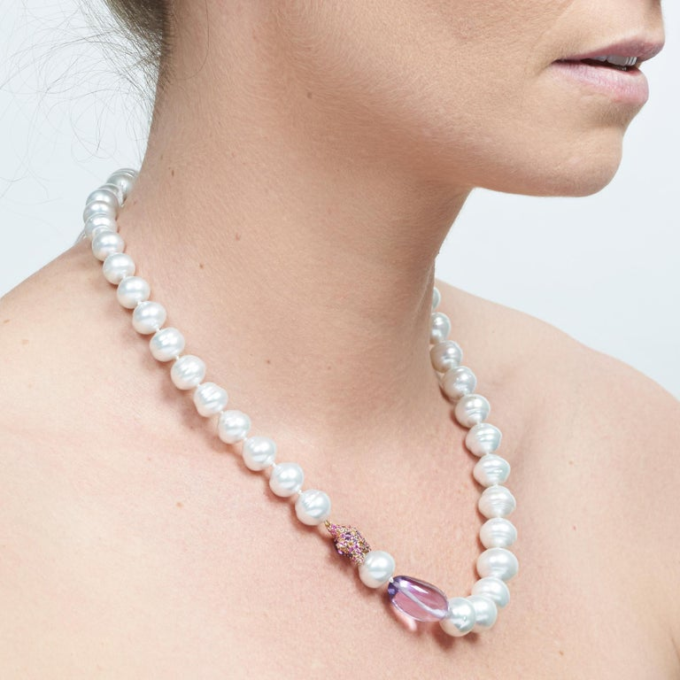 Margot McKinney South Sea Pearl, Star and Amethyst Pebble Necklet, Diamond Clasp 3