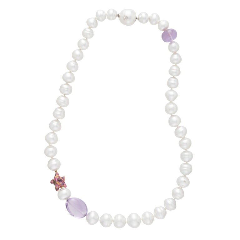 Margot McKinney South Sea Pearl, Star and Amethyst Pebble Necklet, Diamond Clasp