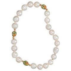 Margot McKinney White Baroque South Sea Pearl Necklet, Diamonds/Multi Gems