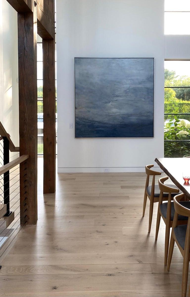 Breaking Waves - Black Abstract Painting by Margot Nimiroski