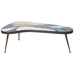 Margot Stewart Mosaic and Patinated Brass Freeform Coffee Table
