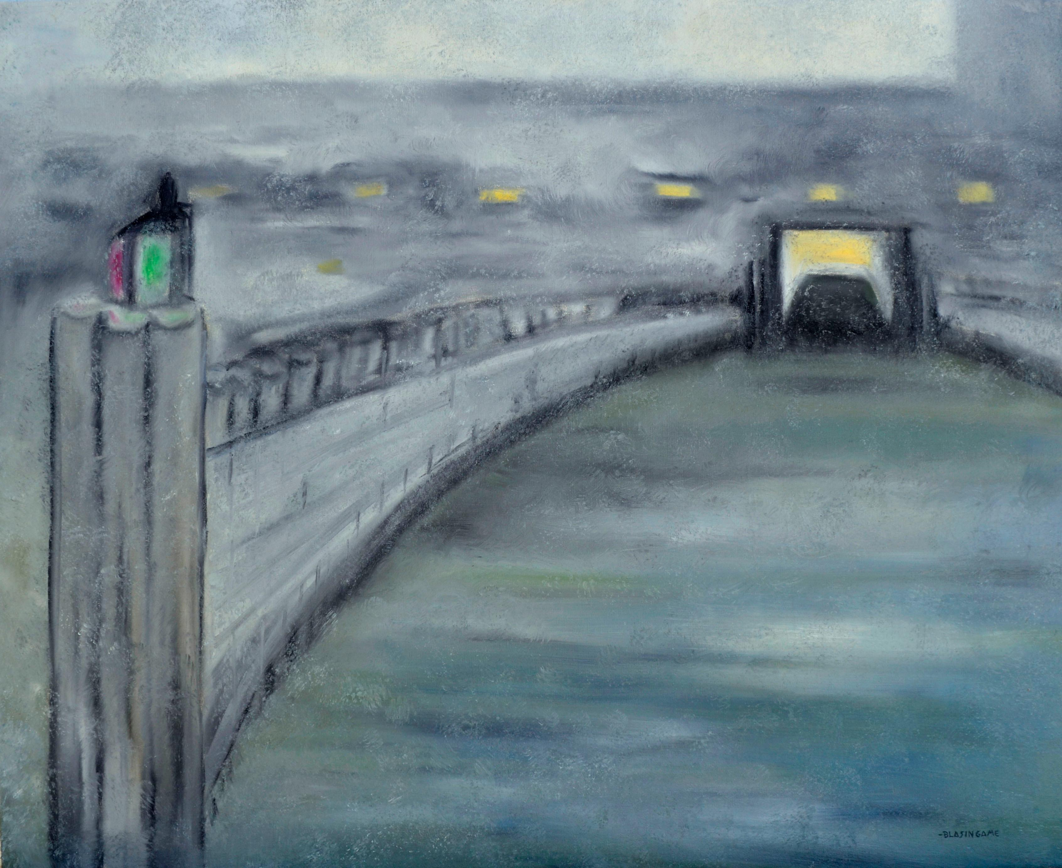 Evening on the Pier looking into the Tunnel - Mid Century Abstract Landscape