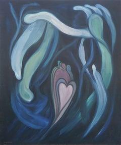 Family Heart - Mid Century Hawaiian Symbolist Figurative Abstract