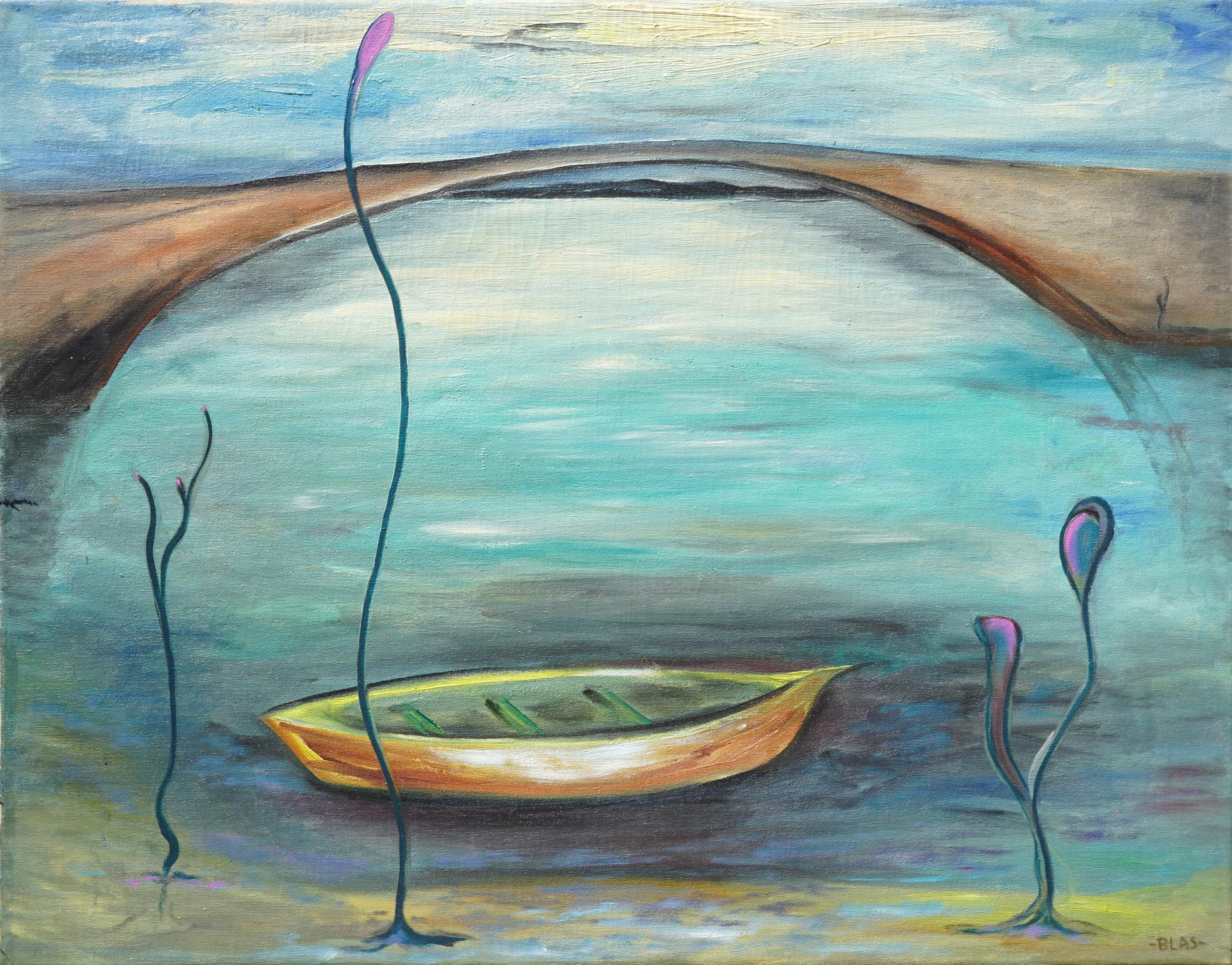 Life is But A Dream - Mid Century Hawaii Surreal Abstract Landscape with Boat
