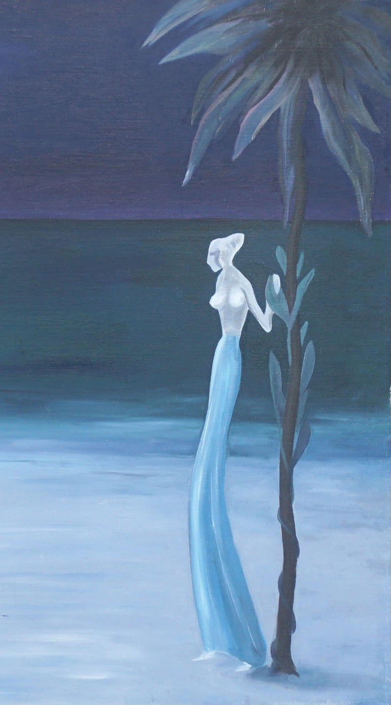 Nocturnal Hawaiian Landscape with Blue Skirted Woman - Painting by Marguerite Blasingame