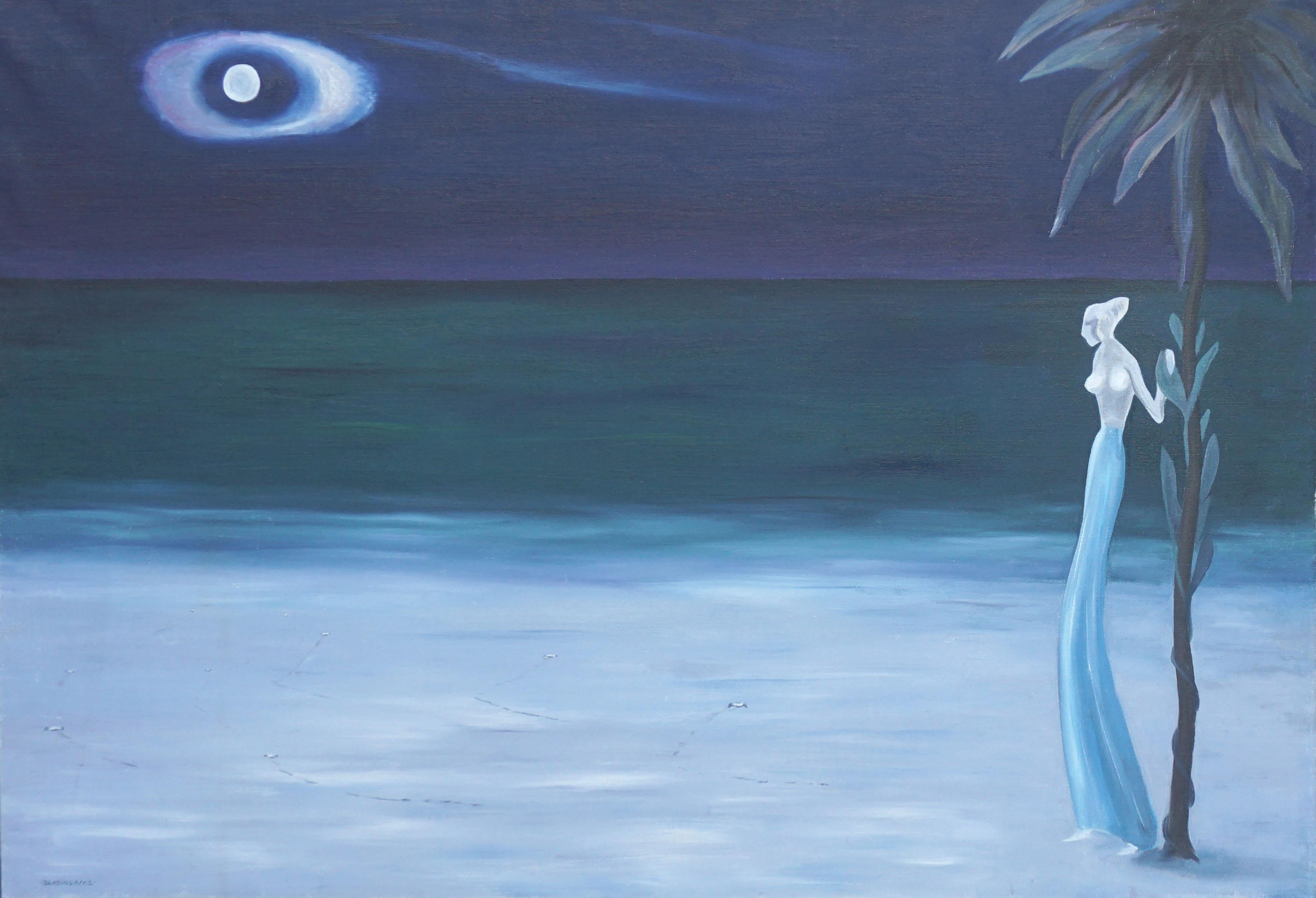 Surrealist Nocturnal Hawaiian Figurative Landscape w. Blue Skirted Woman & Moon