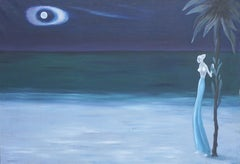 Nocturnal Hawaiian Figurative Landscape with Blue Skirted Woman