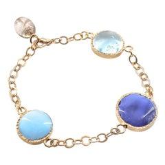 MARGUERITE DE VALOIS Blue Round Cabochons Bracelet
