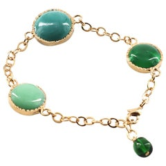MARGUERITE DE VALOIS Chain Bracelet And Green Cabochons